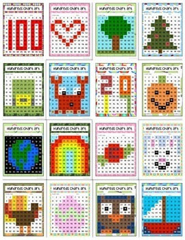 Hundreds Chart Art: 16 Puzzle Activity Bundle (Mystery Picture)