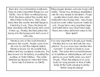 Placemat Consensus Nonfiction Activity Cards