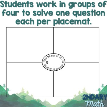 Placemat Template- 4 Questions per Page