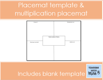 Placemat Worksheet Template Multiplication Placemat By