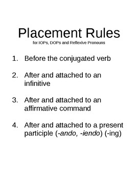 Placement Rules for IOPs, DOPs and Reflexive Pronouns