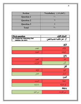 Placement Test - Level A - Formal/Fusha Arabic - Answer Key
