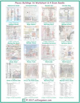 Places-Buildings 16 Worksheet- 4 Exam Bundle