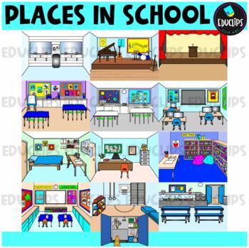Places In School Clip Art Bundle {Educlips Clipart}
