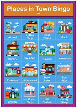 Places In Town / City - Poster, Flashcards, Bingo, Worksheet