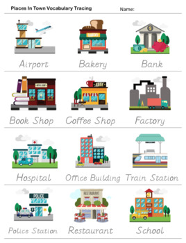 places in town city poster flashcards bingo worksheet by chris m. Black Bedroom Furniture Sets. Home Design Ideas