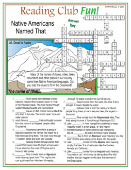 Places Native Americans Named Crossword Puzzle