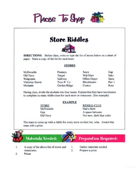 Places To Shop - Types Of Stores Lesson