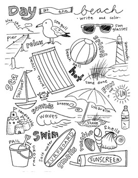 Places: Write and Color Activity Set