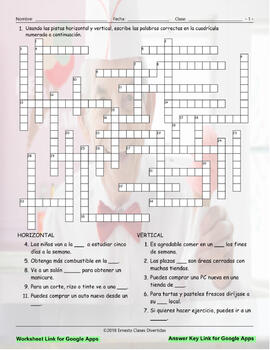 Places and Buildings Interactive Spanish Crossword-Google Apps