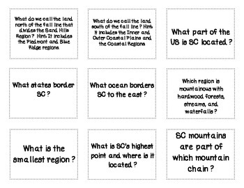 Places and Regions in South Carolina Flash Cards