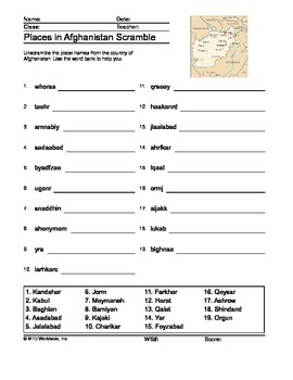 Places in Afghanistan Word Scramble