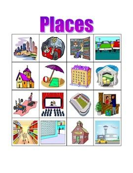 Places in English Bingo game