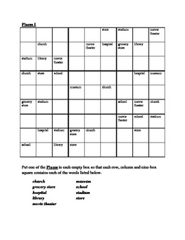 Places in English Sudoku
