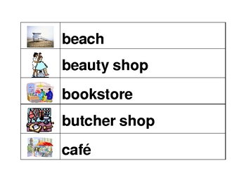Places in English word wall