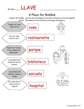 Places in Spanish / Lugares- Worksheet with riddles