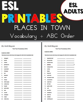 Places in Town Vocabulary