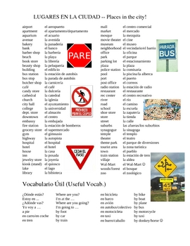 spanish places ciudad lugares vocab subject grade
