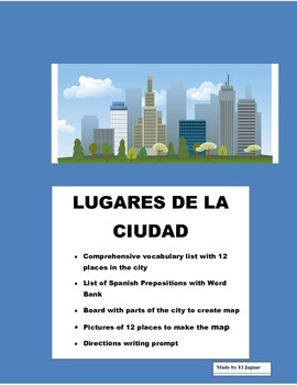 Spanish Places in the City- Lugares de la Ciudad-Directions & Prepositions
