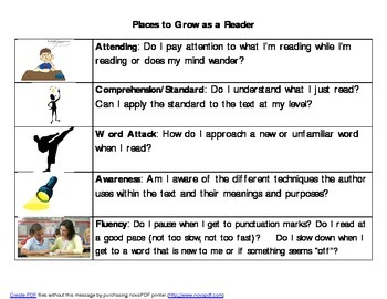 Guided Reading Bookmarks - Student Version
