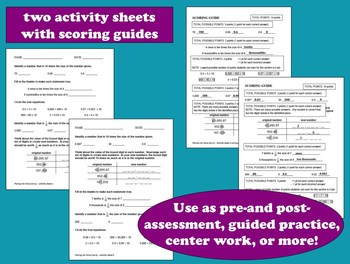 Placing the Value - task cards + printables set –Common Core Math aligned