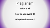 Plagiarism: A Lesson: What is it? How do you avoid it? Why