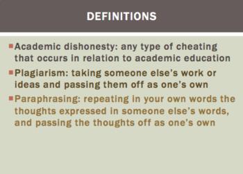 Plagiarism/Academic Dishonesty Lesson and Case Studies