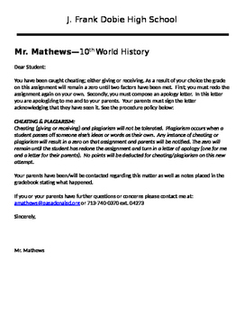 Plagiarism & Cheating Notification/Consequences Letter to