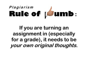 """Plagiarism - Classroom """"Rule of Thumb"""" Poster"""