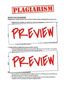Plagiarism Explanation & Agreement, Consequence Assignment & Parent Letter