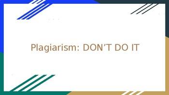 Plagiarism: Don't Do It