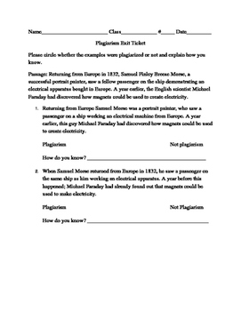 Plagiarism Exit Ticket