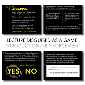 Plagiarism Lecture, Game-Based Approach to Introduce/Reinforce Plagiarism Rules