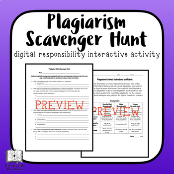 Plagiarism Lesson with Online Scavenger Hunt and Contract Writing Assignment