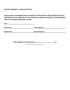 Plagiarism Notification Parent Letter