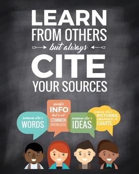 "Plagiarism Poster: ""Learn from Others but Always Cite Your Sources"""