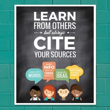 """Plagiarism Poster: """"Learn from Others but Always Cite Your"""