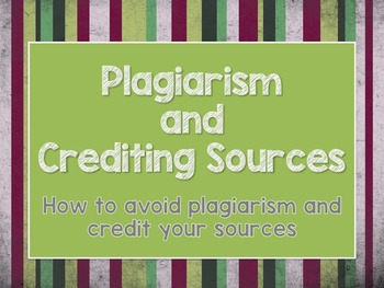 Plagiarism and Crediting Sources PDF Presentation