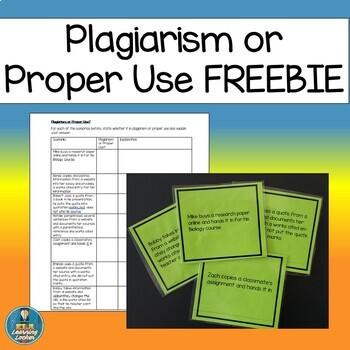 Plagiarism or Proper Use? FREEBIE