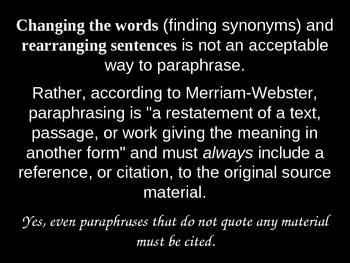 Plagiarism vs. Paraphrasing Presentation