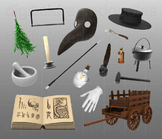 Plague Doctor Clipart - Middle Ages Disease Physician Digital PNG Graphics