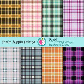 Plaid Style Digital Papers Set: Graphics for Teachers