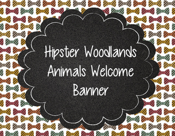 Hipster Woodland Animals Welcome Banner Plaid, Argyle, Eyeglasses