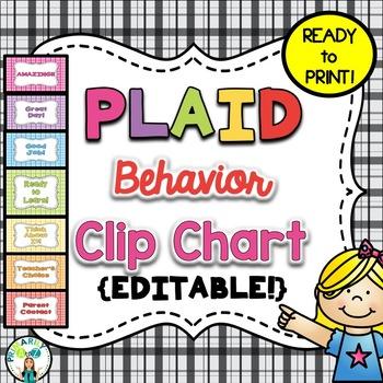 Plaid Behavior Clip Chart {EDITABLE!}