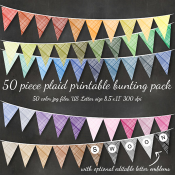 Plaid Bunting Alphabet Flag Banner - Printable, Editable in over 50 Colors
