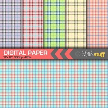 Plaid Digital Paper, Tartan Digital Backgrounds