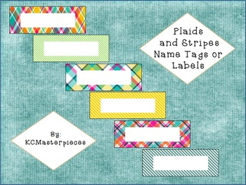 Plaid and Stripes Name Tags or Labels
