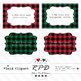 Plaid checks clipart set ribbons, borders, frames & labels