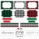 Plaid checks clipart set ribbons, borders, frames & labels