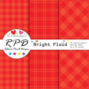 Plaid gingham check bright rainbow colours digital paper set/ backgrounds